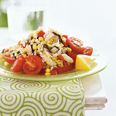Crab, Corn, and Tomato Salad with Lemon-Basil Dressing