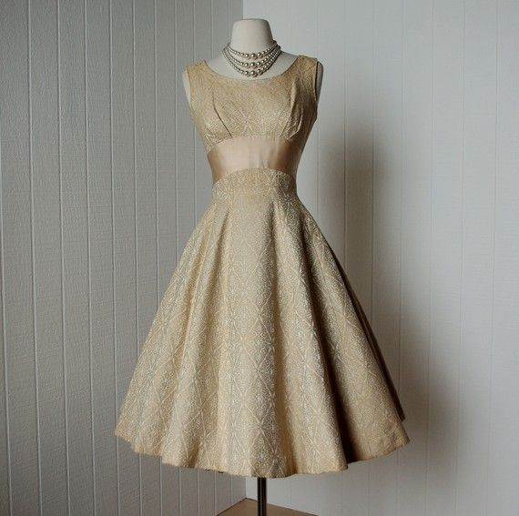 vintage 1950s dress   ...decadent gold brocade full skirt pin-up prom cocktail dress   -featured item-