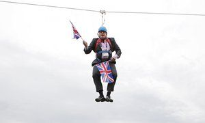 Boris Johnson on a zip-line