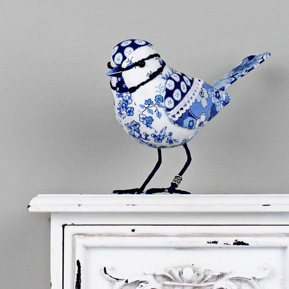 Blue Blue-Tit Sculpture  FABRIC BIRD by TheCottonPotter on Etsy