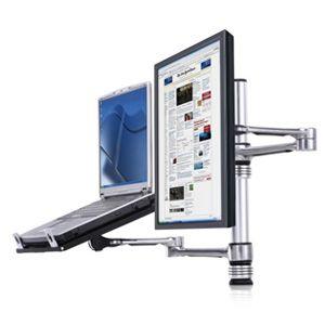 Atdec Visidec monitor arm with laptop tray