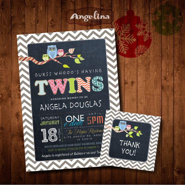 baby shower invitation for twins%0A Twins Baby Shower Invitation  OWLS and Chalkboard  DIY card  Digital  Printable card