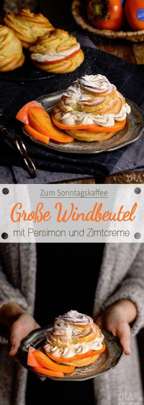 Windbeutel mit süßer Persimon und Zimtcreme