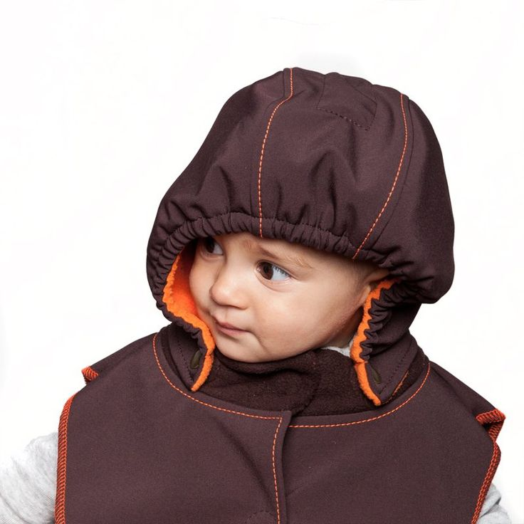 Baby Hood & Neck Warmer - Brown-orange #liliputistyle #babyhood #babywearingcoat