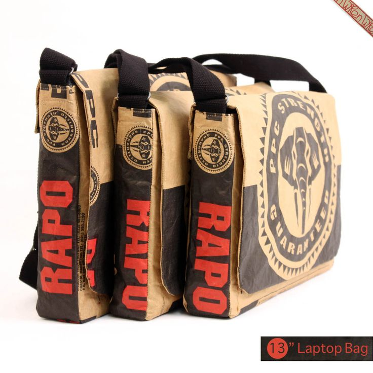 Great line of messenger bags made out of repurposed cement bags from well-known South African manufacturer, Pretoria Portland Cement.