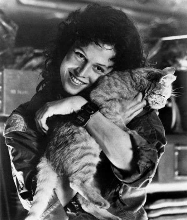 Sigourney Weaver as Ellen Ripley with Jonesy behind the scenes on #Alien (1979)