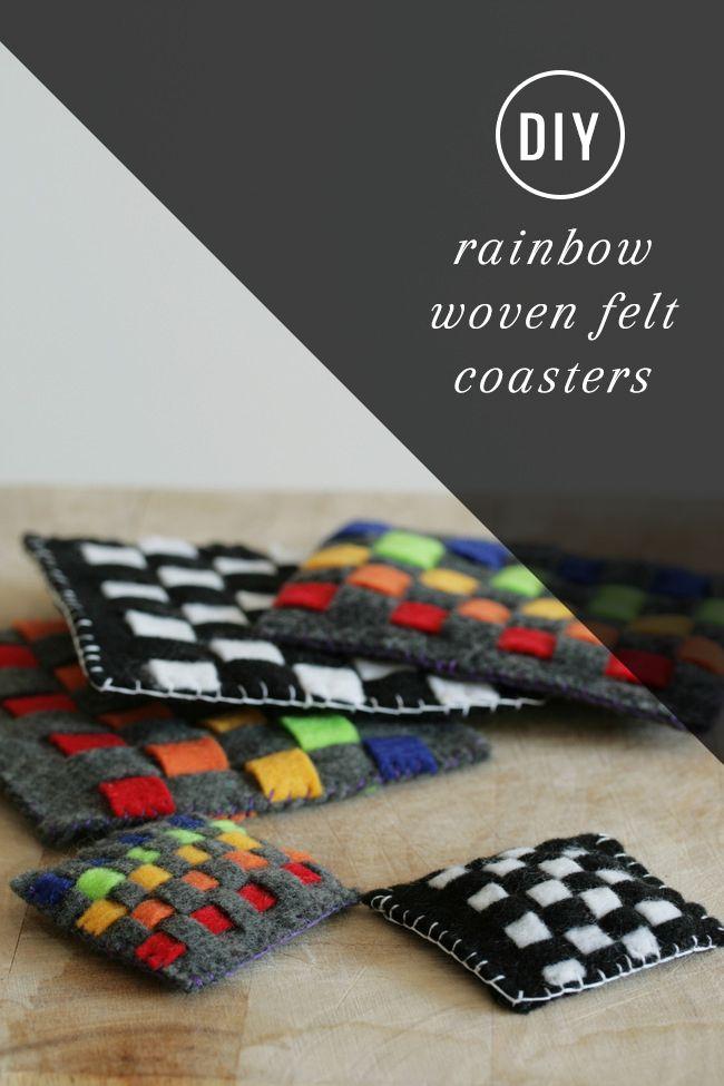 Kid Craft! DIY Rainbow Woven Felt Coasters | http://hellonatural.co/felt-coaster/