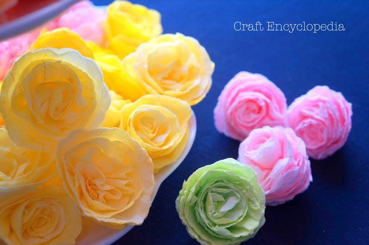 Ombre Colored Paper Napkin Roses  ورود ملونة مصنوعة من مناديل المطبخ