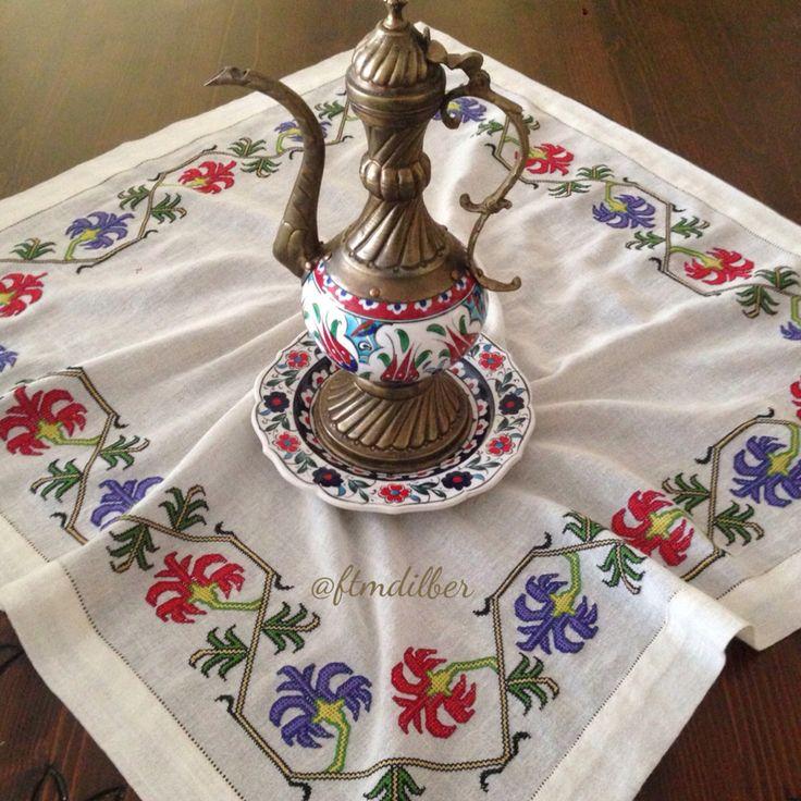 Ottoman embroidery Geleneksel nakış (eski bir çevre örneğini yeniden çalıştım) Muşabak hesapişi