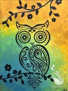 """""""Paisley Owl"""" on Saturday, 9/12/15, from 3-5 p.m., with Katie. Save your seat at: http://www.paintingwithatwist.com/events/viewevent.aspx?eventID=502951"""