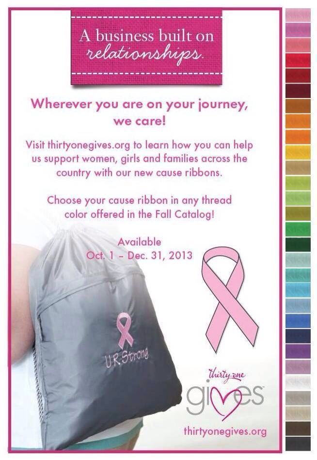 Thirty one gives care ribbons will be available october 1 through