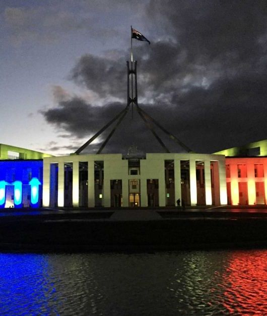 Canberra: Australian Parliament lit up in French colours to support Paris