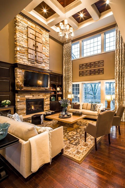 2 Story Family Room Decorating Ideas Part - 44: Love The 2 Story Family Rooms/tall Ceilings