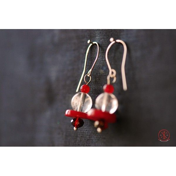 Rock Crystal earrings with Coral