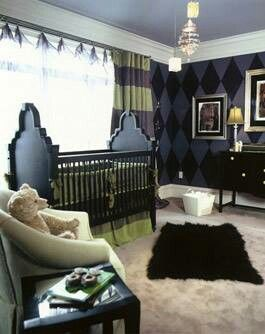 Gothic nursery. I'd say it looks gender- neutral enough if the parents want to be surprised when the baby arrives.