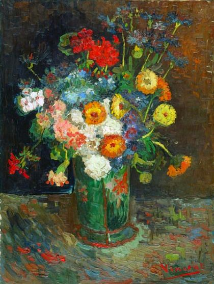 (Netherlands) Vase with Zinnias & Geraniums 1886 by Vincent van Gogh. Oil on canvas. Paris, Summer 1886 Homeboy can paint