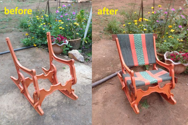 salvaged this chair frame from the trash heap -- refurbished with a few pieces of wood and broom handles and yarn.
