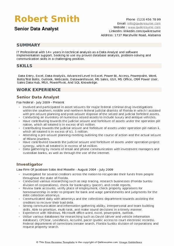 Data Analyst Resume No Experience Unique Data Analyst Resume Samples In 2020 Data Analyst Job Resume Examples Resume Examples