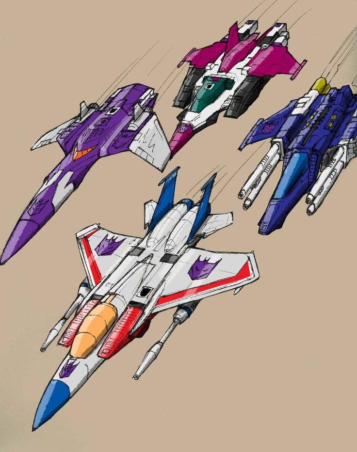 TRANSFORMERS  G1 :  Starscream (front), Cyclonus (purple, left).  Ape Face (back) and Slugslinger (blue/white, right side).
