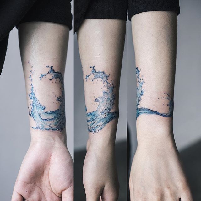 Water splash . 상처 커버업 By Sol Art Tattoo