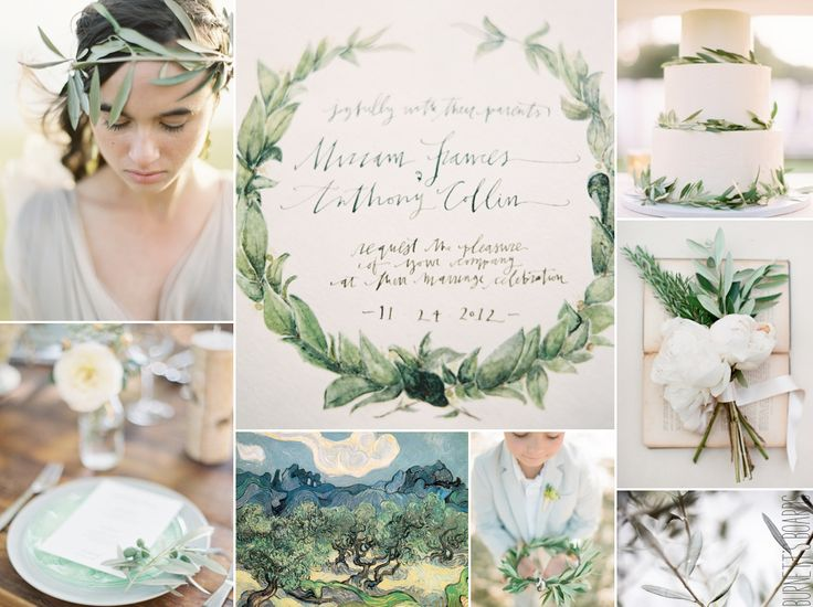 olive branch wedding inspiration board