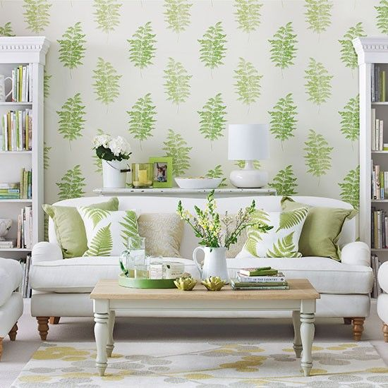 Living room with green fern design wallpaper | Living room decorating | Ideal Home | Housetohome.co.uk