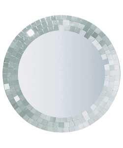 Mosaic Round Wall Mirror - Silver.