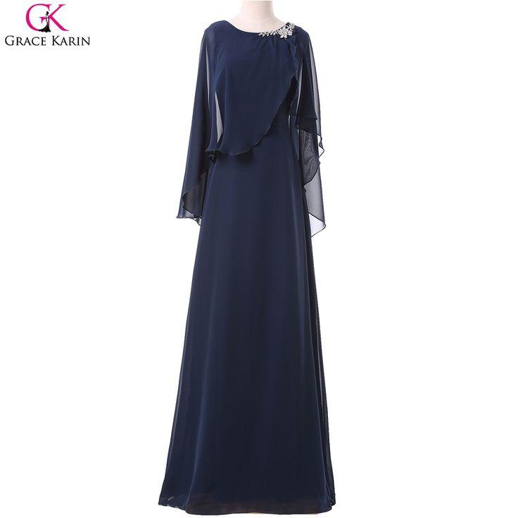 Купить Настоящее фото мусульманские платья выпускного вечера 2016 грейс карин мыс шифон синий формальные…