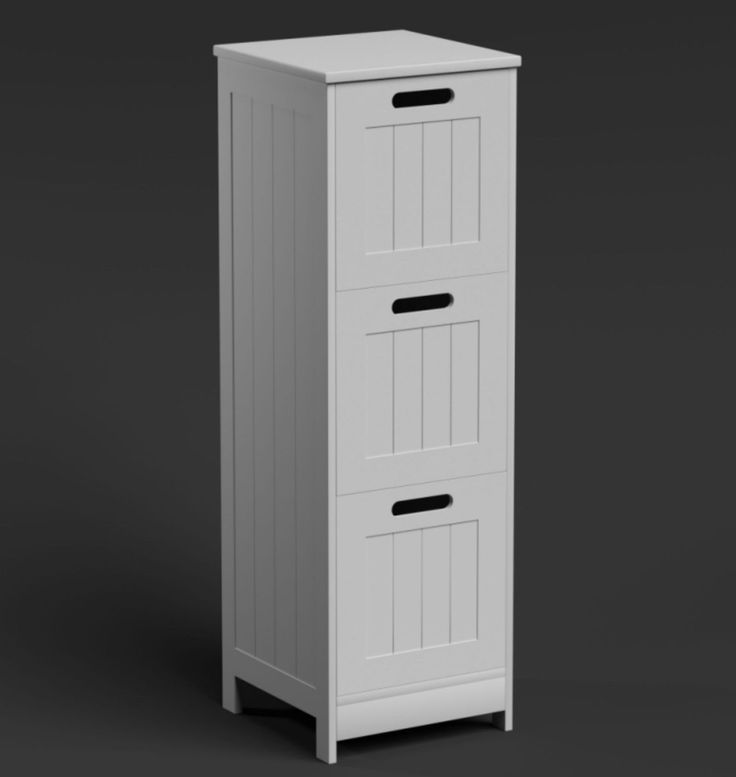 White bathroom cabinet tall 3 #drawer #vanity storage unit modern #wooden furnitu,  View more on the LINK: http://www.zeppy.io/product/gb/2/111859163215/