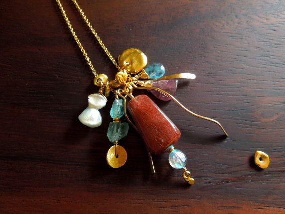 Colourful multi gemstone necklace. Gemstone charm necklace. 14k gold-filled jewellery for women.