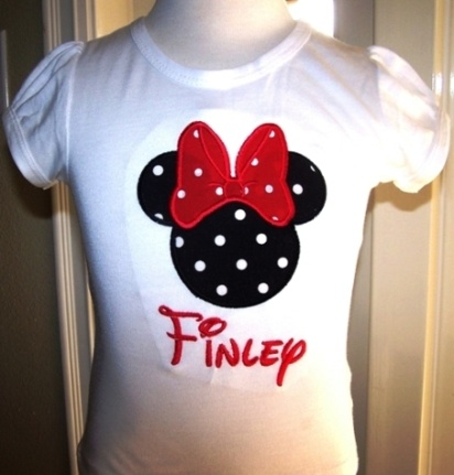 #EM Red/Black Dots Minnie Mouse Birthday Shirt by PoshBabyStore.com