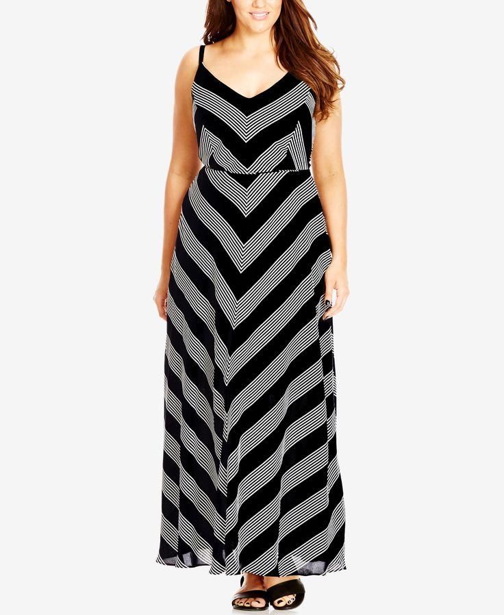 City Chic Plus Size Chevron-Print Maxi Dress