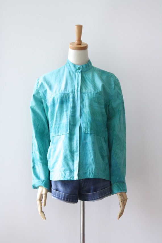 90s surfer aqua sport jacket. Tie Dye sea by ForestHillTradingCo