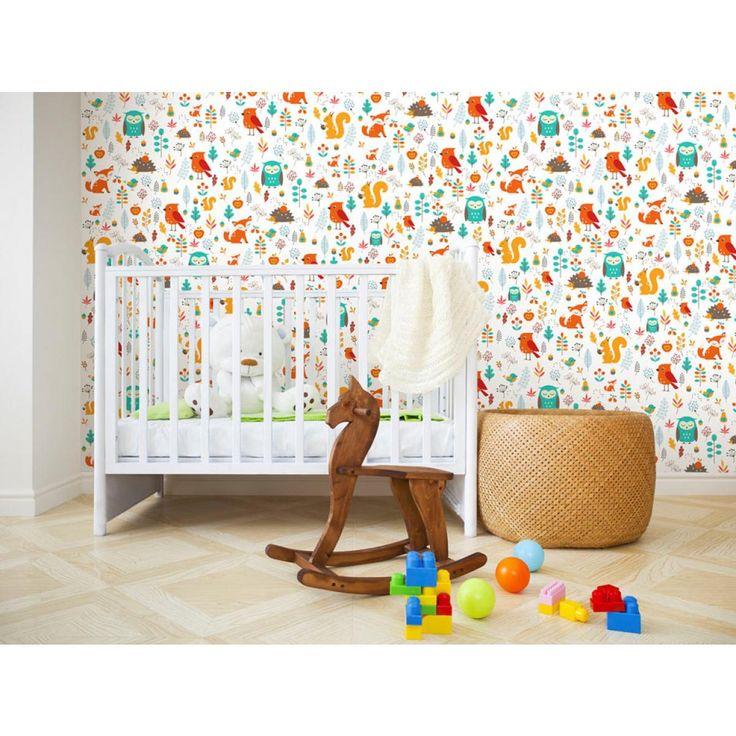 Animales de colores en el papel pintado infantil es ideal para la habitación de los niños #papelespintados #habitacioninfanti papelespintadosinfantiles #decoraciones #adornos