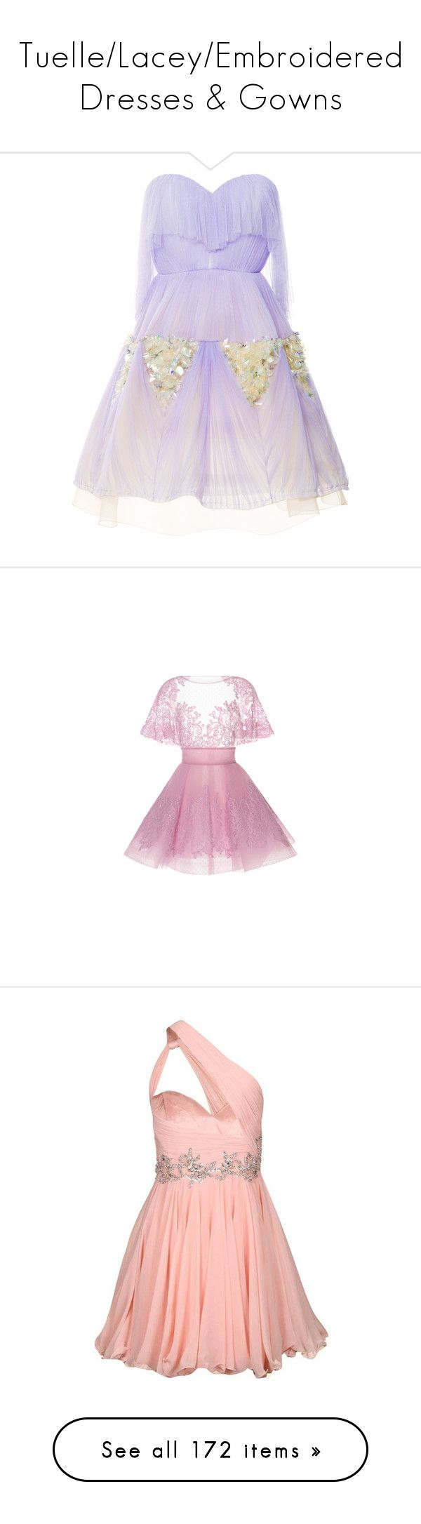 """Tuelle/Lacey/Embroidered Dresses & Gowns"" by kindergrrrl ❤ liked on Polyvore featuring dresses, vestidos, strapless dresses, special occasion dresses, purple cocktail dresses, see-through dresses, strapless cocktail dresses, full skirt cocktail dress, gown and a line mini dress"