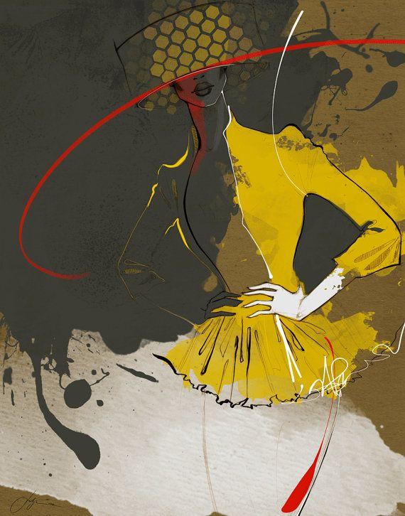 "Exclusive gallery fashion illustration print ""Ardor"" / Gold, red, earth tones and white color palette / Limited edition / Salon de Paris"