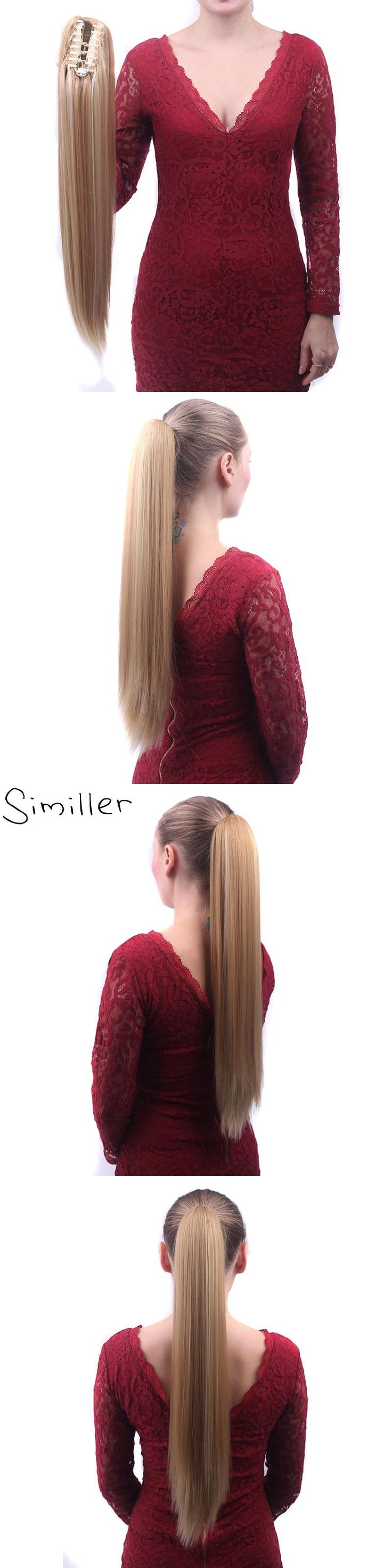 Similler Synthetic Claw Ponytail Heat Resistant Handy Jaw Ponytail One Piece Long Straight Silky For Women 130g 613# Brown