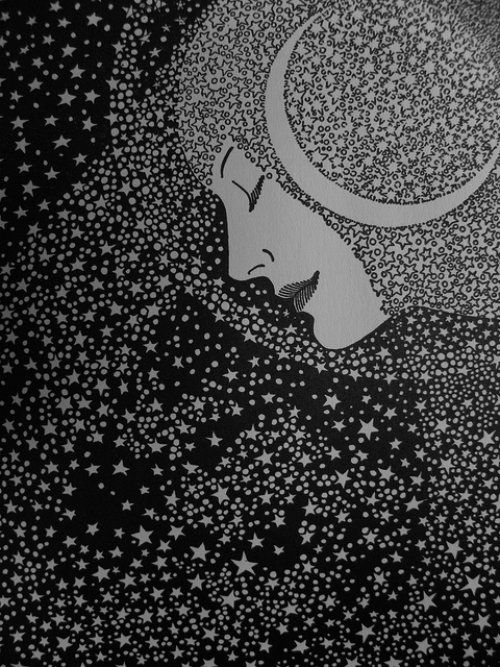 Lady of the Night ---   Illustration and poem by Don Blanding, c. 1935  ---  This Night  I see a luminescent trail of powdered stardust, faint and pale.  Across the sky, like moths in flight, a crescent moon of phantom white is tangled in the filmy veil.  My heart responds with quick delight,  I greet the Lady of the Night.