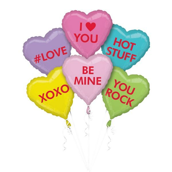 Pastel Conversation Heart Balloons 6ct