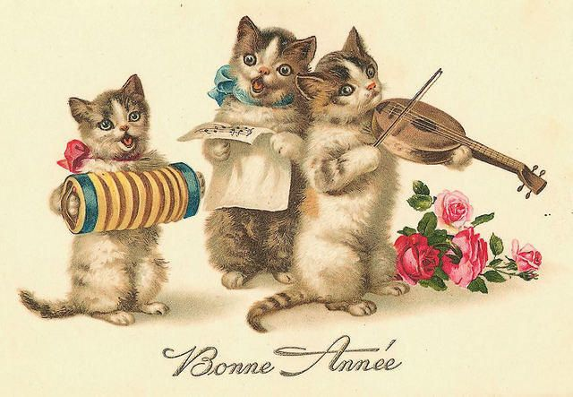 Vintage Cat Card - Happy New Year
