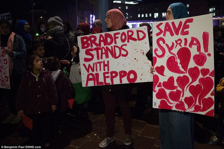 The vigil in Bradford mirrors thousands that have taken place across the world as people raise fears of a humanitarian crisis in Aleppo