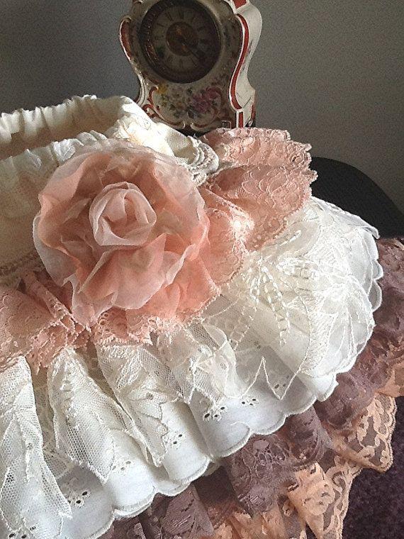 "Vintage Lace Ruffled toddler skirt, Peach, Mocha, ""The Katherine"" by Rosanna Hope for Babybonbons, Flower girl"