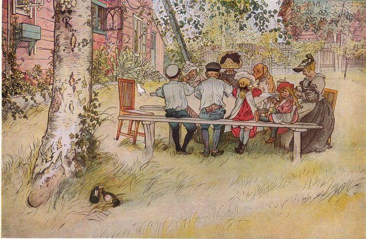 Carl  Larsson  1853-1919      Carl Larsson - Breakfast under the big birch
