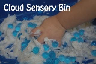 Eric Carle book 'Little Cloud' - (Ivory Soap) Cloud Sensory Bin-winter, weather, senses, literacy
