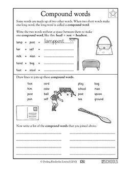 Some words are made up of two other words! In this language arts worksheet, your child gets practice putting together compound words such as football, playground, and pancake.
