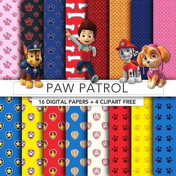Paw Patrol digital paper,Paw Patrol paper,Paw Patrol clipart,scrapbook,background,texture,printable party PP001