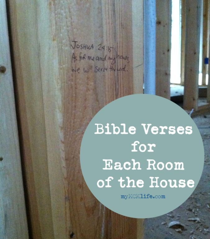 Strong Foundations: Bible Verses for a New House | myMCMlife.com - love this! Writing bible verses on the studs of a new house before dry wall to bless and surround family with scripture. Great idea!