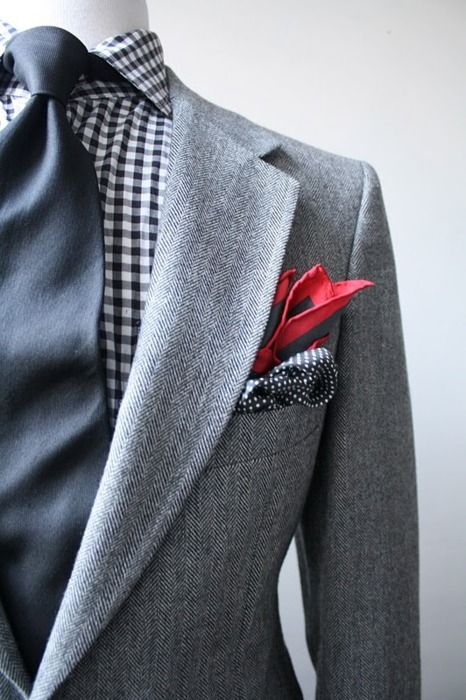 minus the red handkerchief: Red, Grey Suits, Shirts, Color, Men Fashion, Ties, Cars Girls, Pockets Squares, Girls Style