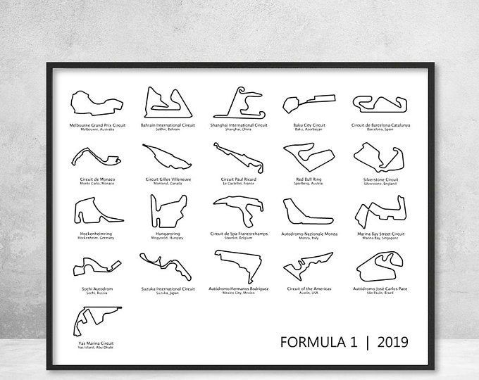 Formula 1 Race Track F1 Circuit 2019 Poster Print Wall Art Etsy Etsy Wall Art Alphabet Poster Poster Prints