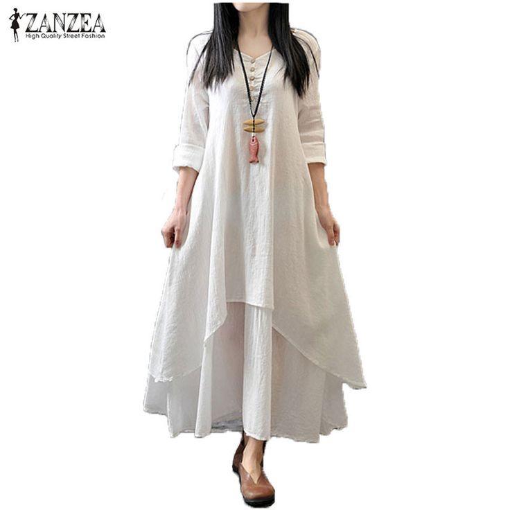 Zanzea Spring Autumn  Fashion Women Casual Loose Long Sleeve V-Neck Dress Boho Solid Long Maxi Dress Vestidos Plus Size 5XL $26.96   => Save up to 60% and Free Shipping => Order Now! #fashion #woman #shop #diy  http://www.greatdress.net/product/zanzea-spring-autumn-2016-fashion-women-casual-loose-long-sleeve-v-neck-dress-boho-solid-long-maxi-dress-vestidos-plus-size-5xl/